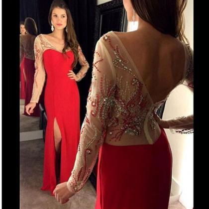 Red Prom Dress,Long Sleeve Prom Gow..