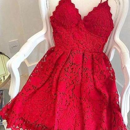 Red lace v neck short prom dress, h..