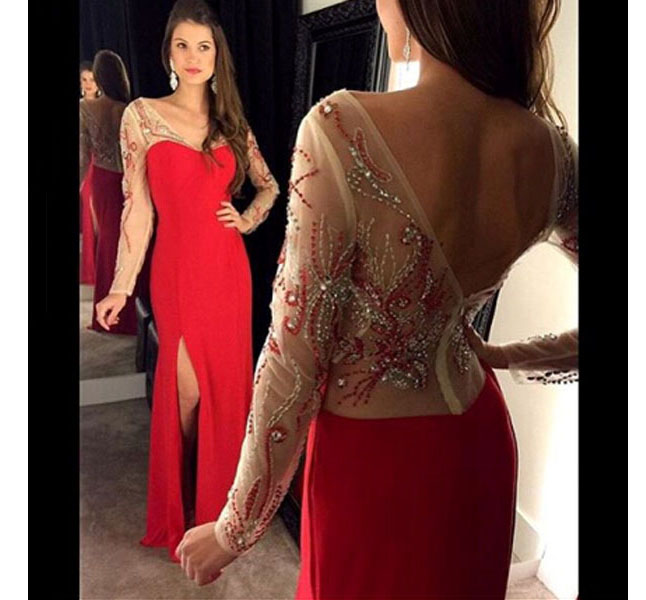 Red Prom Dress,Long Sleeve Prom Gown,Split V-neck Prom Dresses,Appliques Prom Gowns,Charming Party Dress,Unique Prom Dress,Backless Prom Dress With Beads,Long Evening Dress