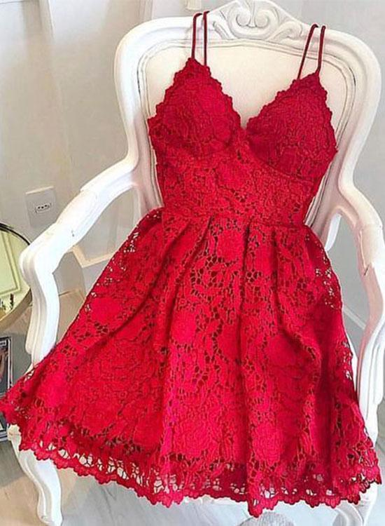 Red lace v neck short prom dress, homecoming dress,H2180
