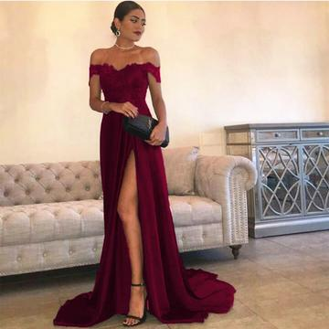 Sexy Leg Slit Long Satin Sweetheart Prom Dresses Lace Off The Shoulder Evening Gowns,P3721