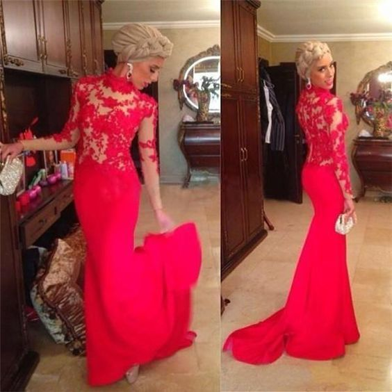 High Neck Red Lace Long Sleeves Sweep Train Pageant Dresses for Women Party Evening Gowns