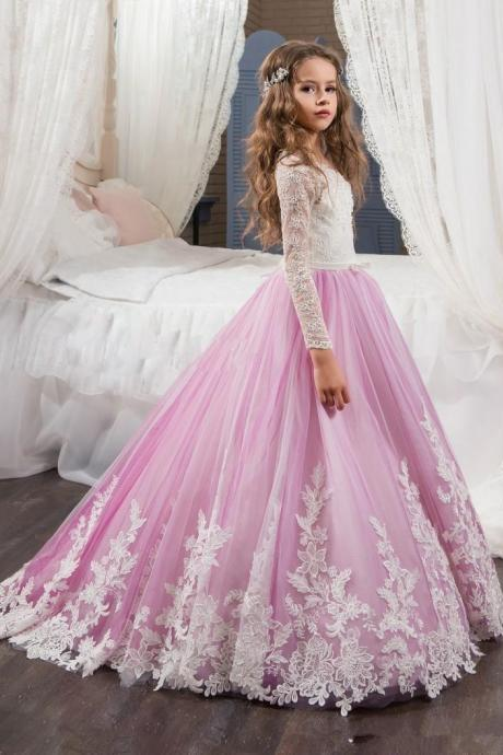 Long Sleeves Lace Prom Dress,Simple Flower Girl Dress,Custom Made Evening Dress