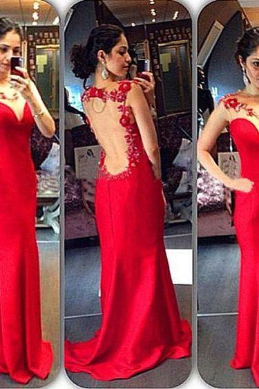 Sexy Charming Red Mermaid Long Evening Dresses Sleeveless