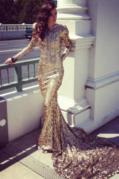 2016 New arrival Mermaid High Collar Chapel Train Gold Sequined Prom Gowns With Long Sleeves Sequin Shinning Formal Dress