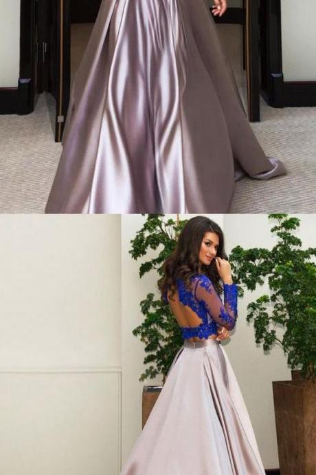 Modest Ball Gown Scalloped Neck Tulle Elastic Woven Satin Sweep Train Appliques Lace Long Sleeve Two Piece Prom Dresses