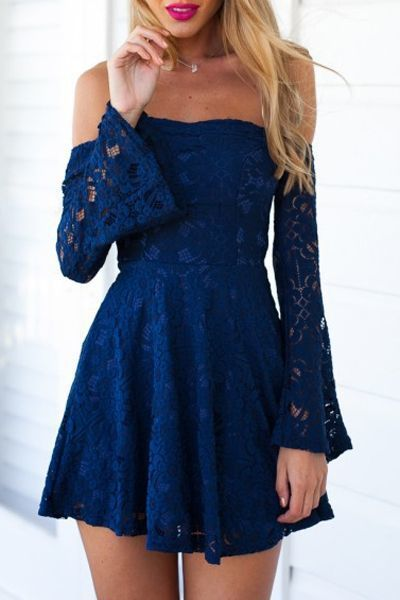 Charming Blue Lace Homecoming Dress,Off The Shoulder Flare Dress,Mini Prom