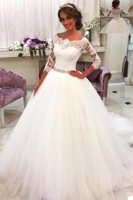 White Wedding Dresses,Wedding Dresses With Sleeves,Lace Tulle Wedding Gowns,Modest Bridal Gowns,A-line Bridal Gowns