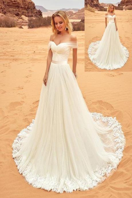 Beach Wedding Dresses,Long Lace Wedding Dresses,Handmade Wedding Gowns,Ivory Wedding Dresses,Simple Bridal Dresses