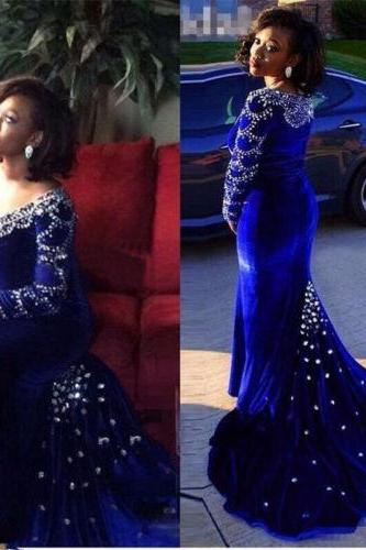 2017 Royal Blue Mermaid Evening Dress Bead Long Sleeve Pageant Party Prom Gown