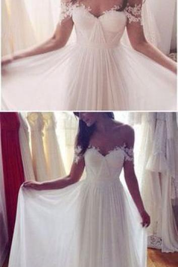 Off-the-Shoulder Ruched Lace Chiffon A-line Wedding Dress