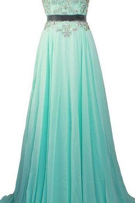 Fashionable Sexy Long Chiffon Prom Dresses Beaded Crystals Evening Gowns