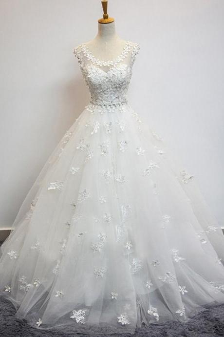 Elegant Wedding Dresses,A-line Wedding Dresses,Applique Wedding Dresses,Bandage Wedding Dresses,Tulle Wedding Dresses,Bridal Gowns