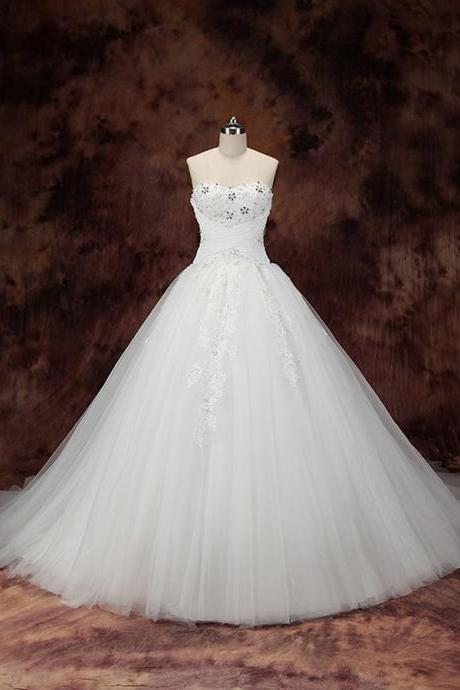 Nectarean Sweetheart Sweep Train Wedding Dress with Beading Lace