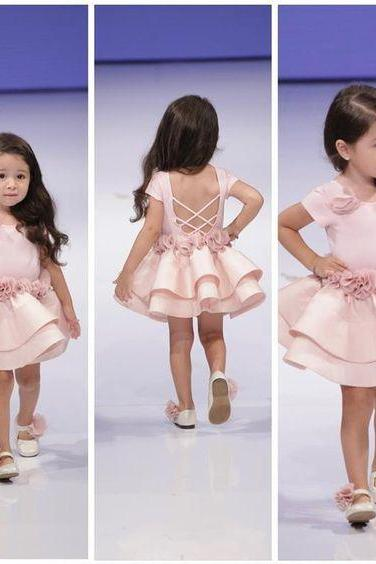 2016 Pink Cupcake Kids Dresses Weddings Bridesmaids Pageant Dresses for Girls Toddler Backless Short Sleeves Littler Girls Special Gowns