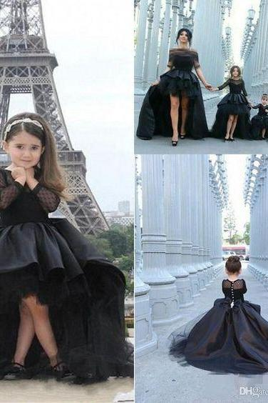 2015 New Black Pageant Dresses For Girls Long Sleeve Cascading Ruffles Pleats Custom Made jewel Girl Junior Pageant Dresses