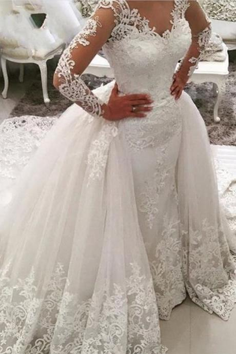 Vintage Lace White Wedding Dresses, 2017 Princess Long Sleeve Wedding Dress, Sexy V Neck Lace Wedding Dress With Detachable Skirt, Illusion Back Dubai Arabic Wedding Gowns, Customize China Bridal Dresses 2017, Court Train Wedding Dresses Robe De Marriage