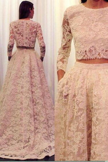 2 Pieces Long Sleeves Lace Wedding Dress with Pocket,Vintage Lace Bridal Gown