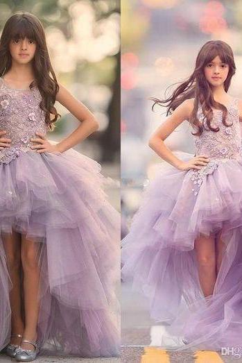 2018 Cheap Girls Pageant Dresses Princess Tulle High Low Length Lace Appliques Lilac Kids Flower Girls Dress Ball Gown Cheap Birthday Gowns,FGD323
