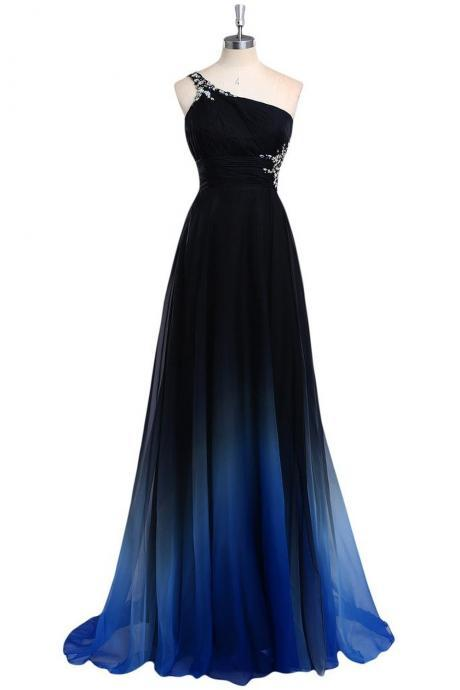 Beaded Embellished Gradient Chiffon One-Shoulder Floor Length A-Line Prom Dress