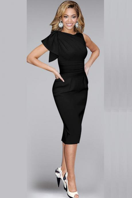 Elegant Ruffle Sleeve Knee length Work Office Casual Slim Wiggle Pencil Sheath Bodycon Women Dress black Color,P441