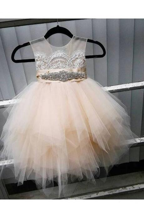 Flower girl dress with rhinestone sash, sheer netting, French lace, pouffy champagne/ butterscotch tulle skirt, birthday dress,P549