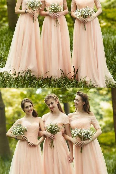 Custom Made Fetching Pink Long Bridesmaid Dress With Zipper Applique Chiffon Floor-length Dresses ,B585