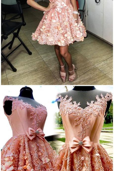 Homecoming Dresses, pink Homecoming Gowns short prom dresses,H638