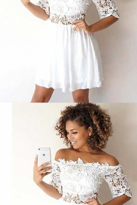 A-Line Off-the-Shoulder Half Sleeves White Homecoming Dress with Lace,H639