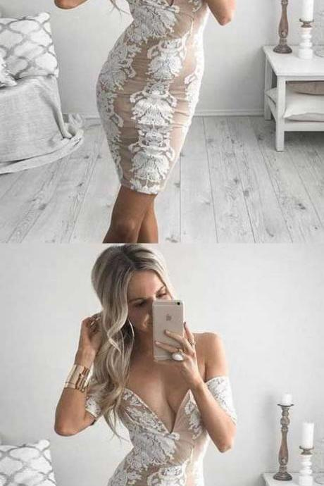 Tight Off-the-Shoulder Short Chiffon Homecoming Cocktail Dress with Appliques,H649