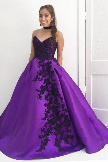 Custom Made Sweetheart Neckline Lace Applique Satin Ballgown Evening Dress, Prom Dresses, Wedding Gowns