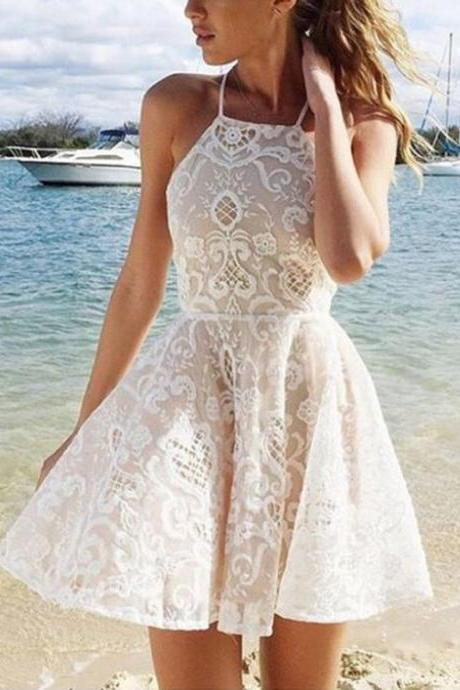 A-line Halter Short White Criss-Cross Straps Lace Homecoming Dress With Pleats,H772