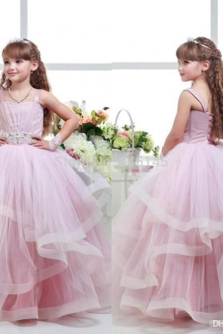 2018 Pink Ball Gown Flower Girl Dresses Spaghetti Beaded Sash Ruffles Girls Pageant Dresses Baby Party Gowns,FG 850