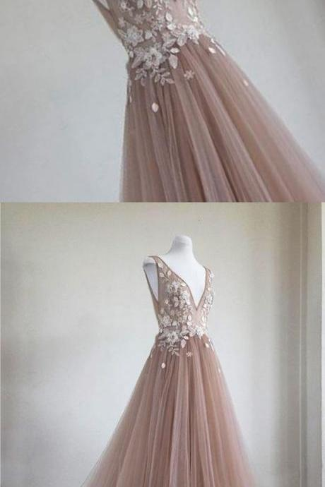 Champagne tulle V neck long evening dress, champagne 3D appliques prom dress,P859