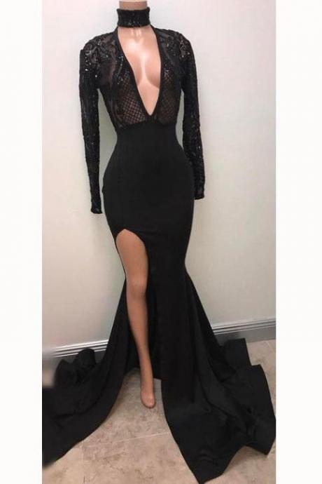 Fabulous Black Deep V-neck Long Sleeve Prom Dresses 2018 Split Sexy Evening Gown,P946