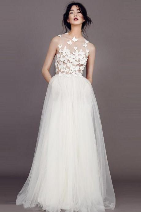 Sexy Wedding Dresses Scoop A-line Butterfly Appliques Tulle Ivory Bridal Gown,P966