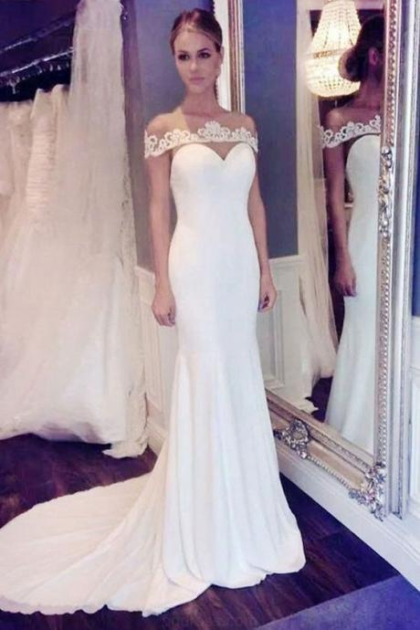 Custom Made Vogue Prom Dresses Wedding Dresses Elegant Off The Shoulder Mermaid Long Wedding Dress With Train,W987