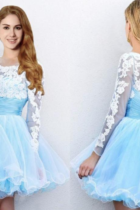 Hot Sale Short Mini Light Blue Prom Dresses with Long Sleeves Cheap Tulle Skirt Prom Party Gown Homecoming Dresses Graduation Gowns,H1026