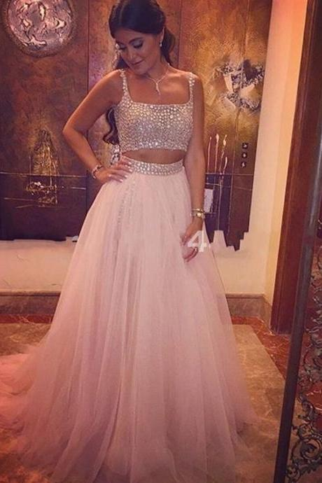 Long Light Pink Prom Dress Women Crystal Tulle 2 Two Pieces Prom Dresses,P1036