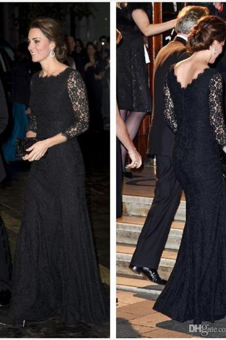 Long Sleeves Black Lace Evening Dress,Lace Evening Dresses,Prom Dresses,P1041