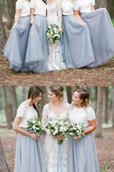 Long Bridesmaid Dresses with Lace, Bridesmaid Dresses with Short Sleeves, Modest Dusty Blue Bridesmaid Dresses,BD 1043