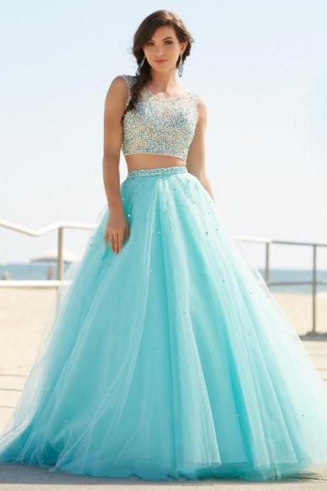 Gorgeous New 2 Pieces Prom Dresses 2016 O-Neck Sleeveless A-Line Court Train Beading Tulle Long Evening Dress Robe de soiree,P1046