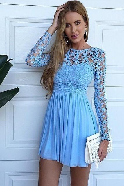Sexy Long Sleeve Hollow Lace Blue Homecoming Dresses 2018 Chiffon Short Cocktail Party Dresses Mini Bridesmaid Dresses,H1069
