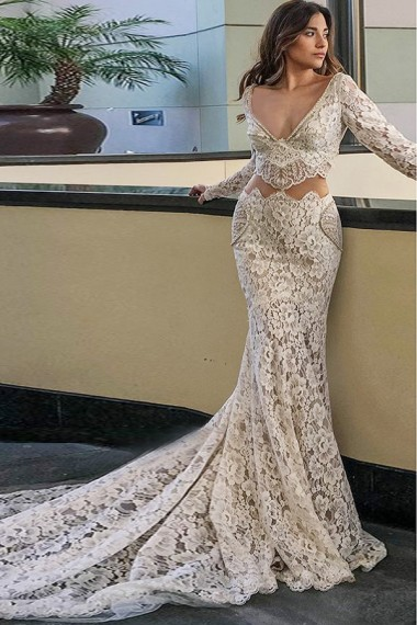 Mermaid Deep V-Neck Court Train Long Sleeves White Lace Beaded Wedding Dress with Pockets,W1158
