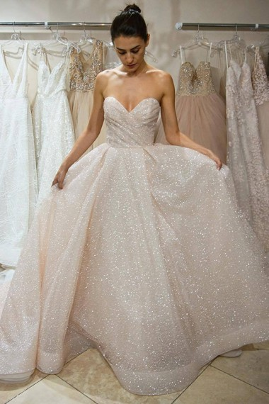 Strapless Sweetheart Sequin A-line Wedding Dress with Court Train