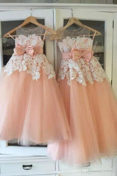 Vintage Little Flower Girls Dresses Peach Sweetheart Sleeveless Lace Appliques Sheer Neckline First Communion Dresses Girls Party Gowns,FG1191