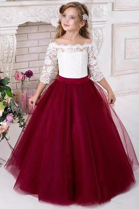 Lace 2018 Half Sleeves Tulle Flower Girl Dresses Vintage Flower Girl Wedding Dresses Kids Pageant Dresses,FG1190
