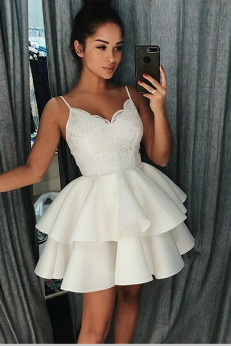 A-Line Spaghetti Straps White Short Homecoming Prom Dress with Appliques,H1206