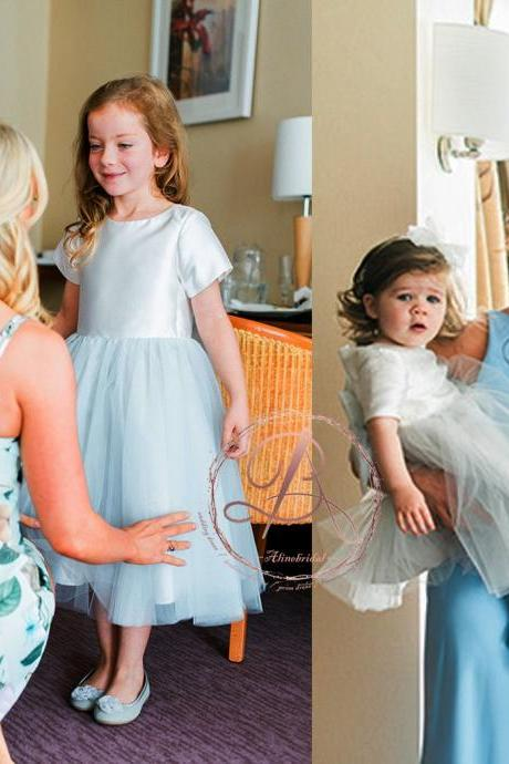Simple Pale Blue Short Sleeve Round Neck Tea Length Flower Girl Dresses,FG1223