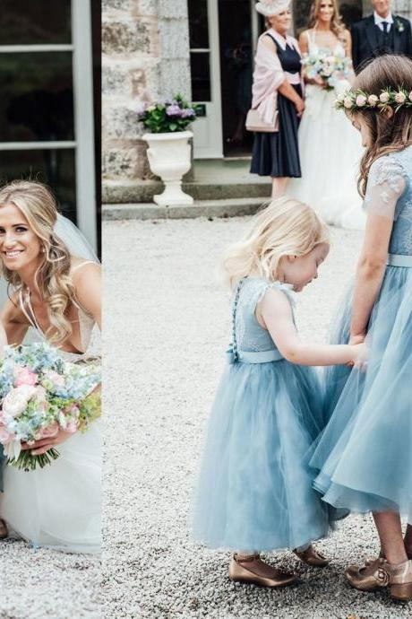 Blue Lace Top Tulle Flower Girl Dresses, Popular Cheap Junior Bridesmaid Dresses,,FG1224